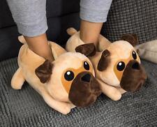 Mops Hund Plüsch Hausschuhe Pug - Winter Pantoffeln Puschen bequem, Geschenk Uni