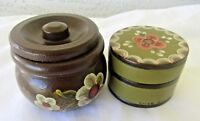 LOT OF 2 Vintage Wood Hand Painted Trinket Boxes Signed Rosemaling Telemark RARE