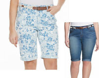 Gloria Vanderbilt JOSLYN slimming roll-up belted bermuda shorts 20W 24W NEW