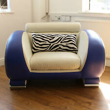 City Contemporary Armchair - White and Blue Faux Leather Padded Chair