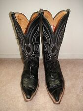 Los Altos Men's 3X-Toe Genuine Eel Skin Black Leather Western Cowboy Boot 8.5 EE