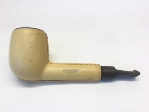 """Longchamp Leather Covered Billiard Tobacco Smoking Pipe made in France 5"""" stubby"""