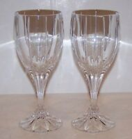 "STUNNING PAIR OF MIKASA CRYSTAL BERKELEY 7 1/4"" WATER GOBLETS"