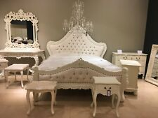 Mahogany Shabby Chic Antique White Ivory French Ornate SUPER KING SIZE Bed 6ft
