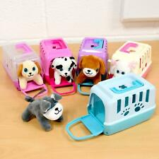 Girls Soft Plush Puppy Cute Cuddle Dog Play Toy Plastic Pet Carrier Case Gift
