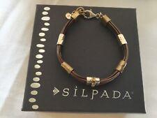 "Silpada Tan Lines Sterling Silver Brass Genuine Leather Bracelet 8""  B3324"