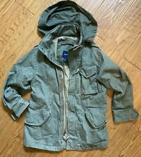 Gap Kids Unisex Hooded Utility Zip Up Jacket Army Green - Size S Great Condition