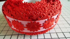 2m -Red, Daisy Flower Motif,Applique, Trimmings,Wedding -  Satin Lace Ribbon