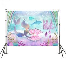7x5FT Little Mermaid Corals Rocks Chair Custom Photo Studio Backdrop Background