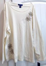 Karen Scott Woman IVORY w/ Embroidered Beaded flowers Cotton Knit TOP 3X NWT