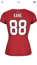 New! Womens NHL Chicago Blackhawks #88 KANE T-shirt Top V-Neck Red Sz L *6393⭐️