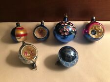 New Listing6 Vintage Mercury Glass Christmas Ornaments Indents Round Pink Blue Hand Painted