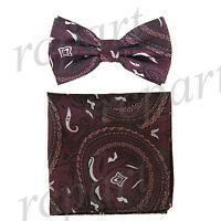 New Men's Pre-tied Bow Tie & hankie set paisley floral burgundy black formal