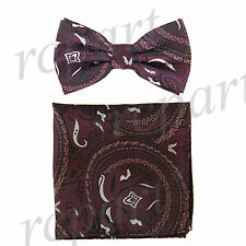 New Men's Pre-tied Bow Tie & hankie set paisley burgundy black formal wedding