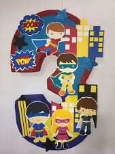nspired super heroes pinata. number decorated Birthday Party decoration. Superhe