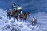 Art Giclee Print Snow Cowboy Rescue the Calf Oil painting Printed on Canvas P874