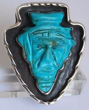 Sz-14.5 Sterling Silver Native American Carved Face Turquoise Arrowhead Ring