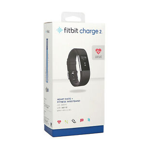 Fitbit Charge 2 HR Heart Rate Monitor Fitness Wristband Tracker -Black Large