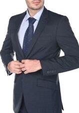 NEW Gino Vitale Mens Slim Fit Plaid Gray Suit 2-Piece  48R x 42W