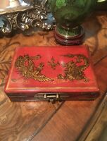Antique Chinese Gold Embossed Leather Game CardBox Chinese 5Toe Dragon&Fenghuang