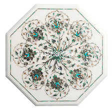 """18"""" Marble Coffee Side Table Top Pauashell Inlay Marquetry Home Decorative Gifts"""