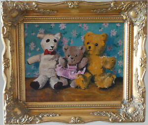 THREE TEDDY BEARS - OIL PAINTING - D. HOOKWAY