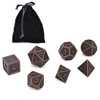7Pcs/set Metal Polyhedral Dice DND RPG MTG Role Playing Game With Bag Black