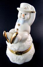 LENOX TREASURES THE SCATING ADVENTURE BOX PORCELAIN CHRISTMAS SNOWMAN (E46)