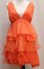 NWT Alice and Olivia Coral Plunging Neckline Tiered Dress Sz L