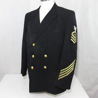 Vintage US Navy Dress Blue Jacket Military Uniform Patches Aviation Specialist
