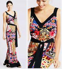 M&S Per Una Black Multi Printed Evening Occasion Summer Maxi Sun Dress £45