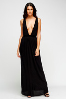 ASOS TALL Womens Black Beach Jersey Clean V Cross Back Maxi Dress Size 4 - 20