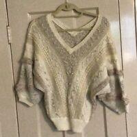 """Vintage 1980s """"bp beldoch popper"""" Ivory Knobby Knit V-Neck Sweater Sz Large"""