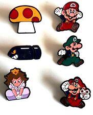 SUPER MARIO NINTENDO 1992 x 6 ENAMEL BADGES  MINT  LUIGI, PRINCESS PEACH ,BULLET