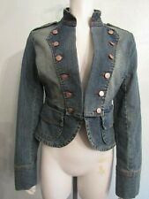refuge Military Stretch Cotton Long Sleeve Jean Jacket Juniors Size M