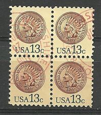 US SC # 1734. Indian Head Penny 1877. Block of 4.  Used.