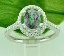 1.72 ct 14k Solid White Gold Oval Shape Mystic Topaz & Diamond Ring
