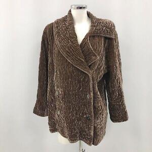 Ghost Coat Women's Size Large Dusky Pink Beige Textured Velvet Jacket 422098