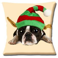 "NEW BOSTON TERRIER PUPPY BLACK WHITE ELF HAT CHRISTMAS 16"" Pillow Cushion Cover"