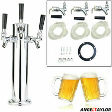 More details for beer pump stainless steel beer tower with 3 faucets for home bar/man cave/pub
