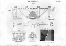 Stampa antica architettura COSTRUZIONE di TUNNEL 1848 Old print