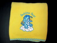 Bedtime Care Bear Yellow Blanket Blue Aplique Embroidered Security Baby Blanket