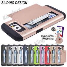 Slide Cards Slot Card Pocket Hybrid Heavy Duty Case Cover For Samsung & iPhone
