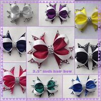 """Handmade 3.5"""" inch boutique bling romany hair bow clip bobble various colours"""