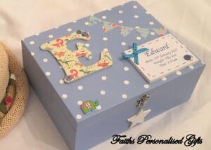 PERSONALISED  BABY CHRISTENING/NEW BORN WOODEN KEEPSAKE  BOX POLKA DOT BLUE/PINK