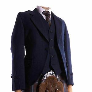 CLEARANCE Argyle kilt Jacket & Waistcoat/Vest, Scottish Argyle Jacket Navy Blue
