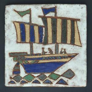 Vintage Les Argonautes Vallauris Art Pottery Tile Sailing Ship 10.75 X 10.75