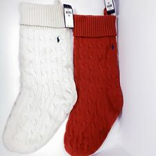 2 Polo Ralph Lauren Holiday Decor Christmas Stockings Red & White Cableknit NWT