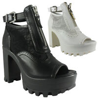 NEW WOMENS LADIES BLOCK HEEL CLEATED CHUNKY SOLE PEEPTOE MESH BOOTS SHOES SIZE