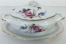 Vintage Royal Crown Derby #11/446  Sugar Bowl ROSE PATTERN GOLD TRIM